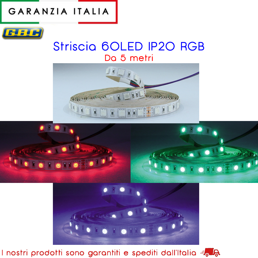 STRISCIA DA 5 METRI IP20 5050 60LED/M 24V 14,4W/M RGB